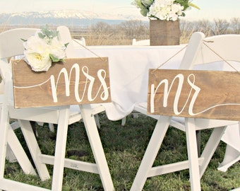 Mr. Mrs. Wedding Chair Sign // Wood Wedding Decor // Rustic Hand Lettered Wedding Sign // Bridal Party Table Decor
