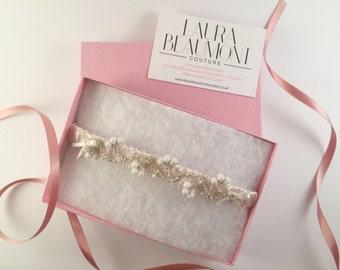 Isabelle blush pink bridal garter/wedding garter