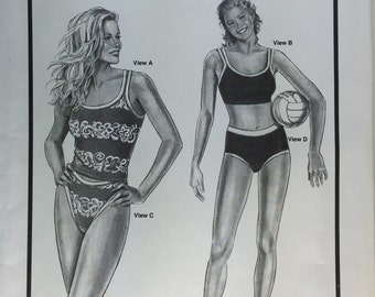 1990's Two Piece Tankini Swimsuit Stretch and Sew Pattern 1360 Ann Person  Sizes 30-46 uncut