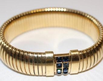Kirks Folly Bracelet Expansion Gold Tone Deep Blue Square Cut Rhinestones