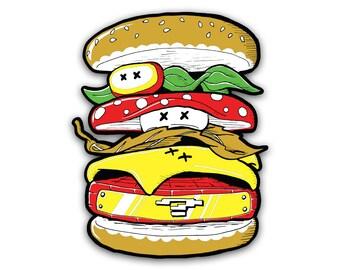 Power Burger Sticker - Mario Inspired Vinyl Decal Nintendo Cheeseburger Power Up Illustration by OMSP
