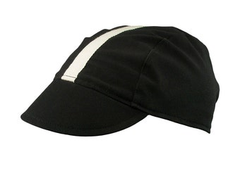 Black/white-stripe cotton cycling cap - handmade cap; bike cap; bicycle cap; cotton cap; cycling clothes; bike wear