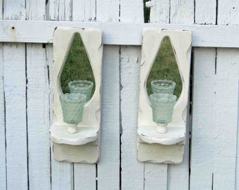 Wall Candle Sconces With Mirror, Teal Glass Votive Cups, Set Of Two, White Distressed ,Shabby Chic, Vintage, Wooden
