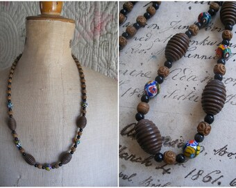 1930s millefiori glass & wooden beads necklace