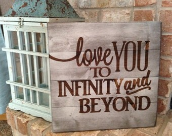 Children's Wall Art - Infinity and Beyond - Wall Art - Rustic Wood