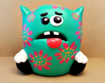 Flower Monster Piggy Bank, Monster Piggy Bank, Kid's Room Decor, Baby Nursery, Girl Monster Bank, Baby Monster Piggy Bank