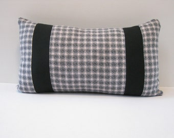 12x20 pink and black plaid pillow cover