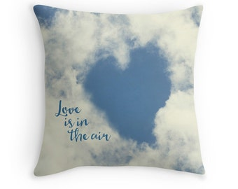 Love Decor, Heart Cushion, Love Pillow, Heart Decor, Cottage Chic, Gift for Her, Cloud Cushion, Sky Blue, Gift for Girlfriend, Romantic Gift