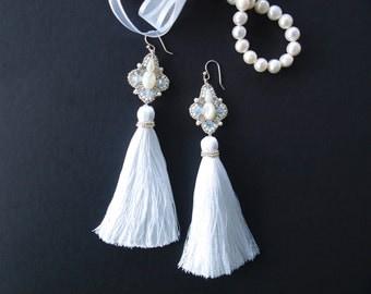 Long White Tassel Earrings Swarovski Crystal and Pearl Earrings Wedding Gift idea for wife Bridesmaid Earrings Anniversary Gifts Silk Tassel