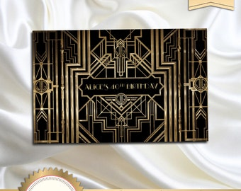 Great Gatsby Art Deco Birthday Signs, Welcome Sign, Door Sign, Great Gatsby Poster, Roaring Twenties, Black and Gold - Printable, GG01