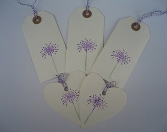 Six Hand Printed Allium Luggage Label Gift Tags