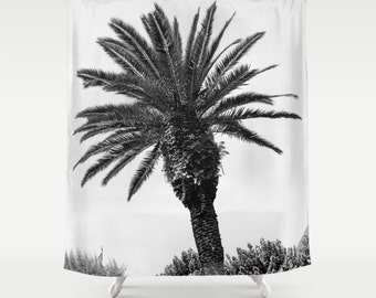 Shower Curtain, Palm Tree Shower Curtain, Palm Tree Decor, Italy Shower Curtain, Bellagio, Bathroom Shower Curtain, Gray, Gifts for Her