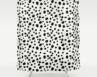 Dalmatian Print Shower Curtain, Black and White Shower Curtain, Girls Shower Curtain, Girls Bathroom Decor, Teen Room Decor, Tween Girls
