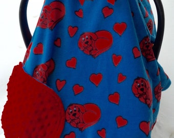 Clifford and hearts fleece and minky red and blue, car seat canopy