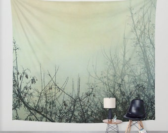 wall tapestry, large size wall art, wall decor, tapestry, tapestry, wall hanging, fog, foggy, moody, dark, tree, gothic decor