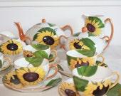 Art Déco China, Limoges Tea Set, Rare, Limoges Teacup, Limoges China, Limoges Porcelain, Limoges Teapot, Limoges Cup, Sunflower, Handpainted
