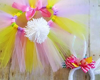 Easter Tutu with Tail and Bunny Ears/Removable bunny tail/ Baby Easter tutu and bunny headband/Bunny Ears Headband/Baby Tutu