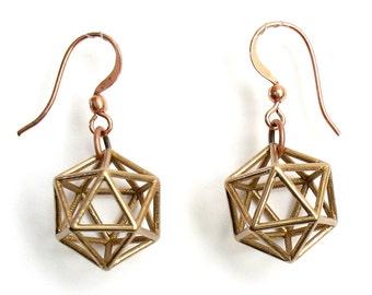 Bronze Icosahedron Earrings