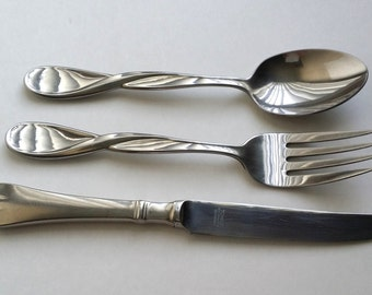 Vintage Stainless Steel Oneida Salad Serving Fork Spoon Set & Towle Germany Dinner Knife