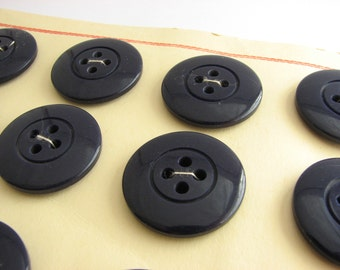 "12 big navy blue buttons, vintage trech coat buttons on cards, 28 mm / 1 1/8"" across"
