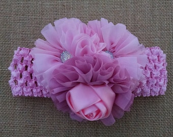 Baby Girl Headband, Flower Headband, Pink Headband, Baby Headband, Baby Hair Accessory, Infant Headband, Newborn Headband, Toddler Headband