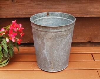 Galvanized Sap Bucket, Tall Galvanized Sap Bucket, Vintage Bucket, Leader Sap Pail