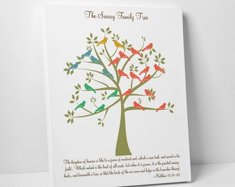 Family Tree with Birds, Gallery Wrapped Canvas, Perfect Parent Gift, Grandparent Gift, Anniversary Gift or Christmas Gift