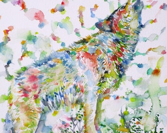 HOWLING WOLF - original watercolor painting - one of a kind!