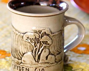 "Vintage Handmade Souvenir Stoneware Pottery Mug 1980's""Wave Rock"" , Hyden Western Australia"