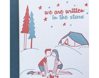 Letterpress Love Card, Camping Card, Birthday Anniversary, Crush, Husband Wife, Campers Camping, Written in the stars, vintage Retro