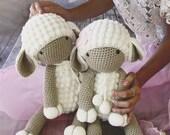 Handmade crochet sheep. 45 cm height.