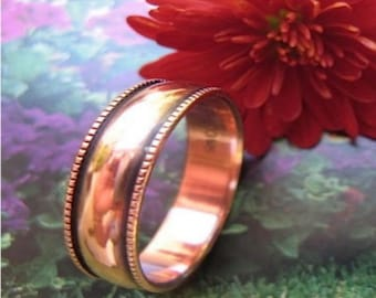 Solid Copper Band Ring 052 Available in sizes 5 to 12 - 1/4 of an inch wide