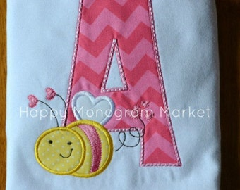 Bee Mine Valentine Alpha Letter Bumble bee Applique Shirt T-Shirt Bodysuit First Valentine Matching Sibling Outfit