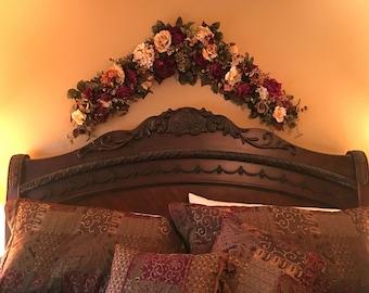 Floral Garland Swag, Elegant Tuscan Floral Arrangement,SHIPPING INCLUDED Wnter,Spring Summer Wall Arrangement, Over Door, Bedroom Floral