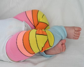 Retro Rainbow Baby Leg Warmers - Pink, Orange, Yellow, and Light Blue Sunset - Newborn to 18 Months - Great gift for mom and baby!