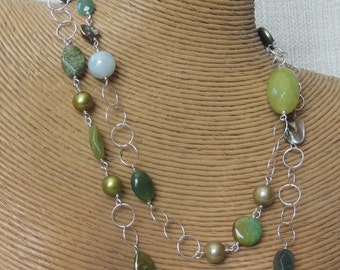 Sterling Silver beaded long chain green necklace