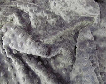 Charcoal Grey Minky Dimple Dot - Large Fabric Remnants - Destash - 19 x 34 inches - Cuddle Dimple Dot - Charcoal - Minky Scraps