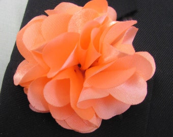 Peach Melon Silk Flower Boutonniere With 2 Inch Stick Lapel Pin