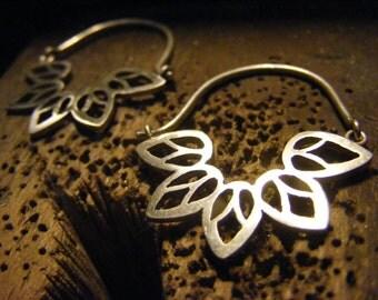 Handmade Hoop Mandala Leaf Earrings