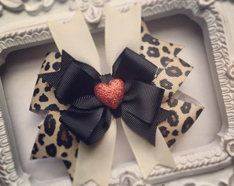 Leopard Print with Red Glittery Heart Embellishment Hair Bow or Bow & Headband Set
