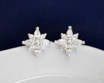 CZ Stud Earrings, Post Earrings, Crystal Wedding Earrings, Bridesmaid Bridal Party Gifts Sparkling Rhinestone Earrings