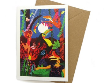 Moon Circus – A6 Greeting Card – Bird Forest Night time - Carnival bird illustration