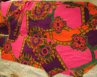 Vintage 60s Pucci ish Boho Floral Fabric Hot Pink Paisley Unused