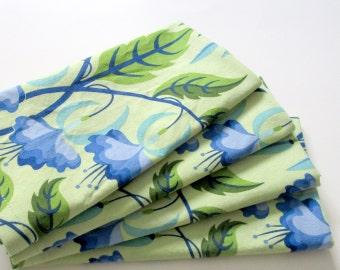 Cloth Napkins - Set of 4 - Large, Dinner - Blue Green Bleeding Heart Flowers