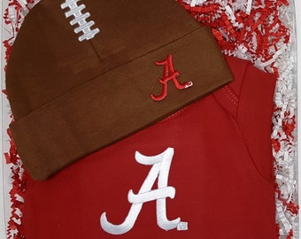 Alabama Crimson Tide Baby Bodysuit & Football Cap Gift Set