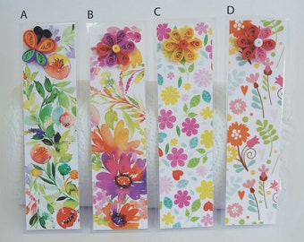 Floral Quilled Laminated Bookmarks
