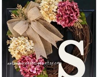 FRONT Door Wreath, Monogram Wreath for Door,  Door Decor, Door Wreath