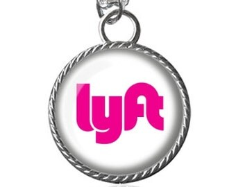 Lyft Necklace, Ride Share, Car Dangle, Rear View Mirror Jewelry, Driver Image Pendant Key Chain Handmade