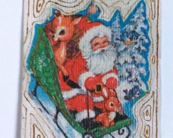 Unique Handmade Christmas card with Santa Claus from Handmade (recycled) paper, 10/13.5 cm, inside with vellum. Free Shipping