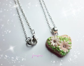 Necklace Heart flowers